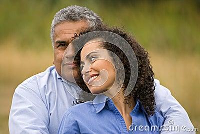 Loving hispanic couple