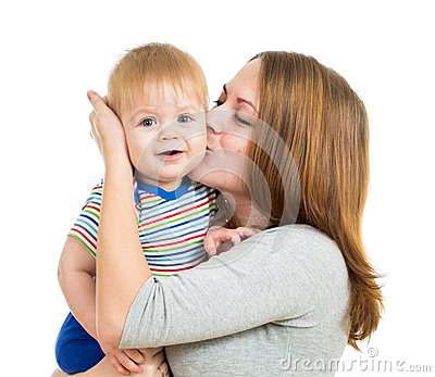 Loving mother holding baby boy isolated on white