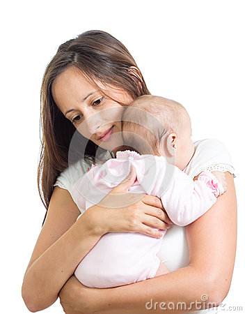 Loving mother hugging her baby isolated