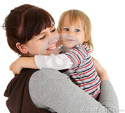 Loving mother with son in her arms