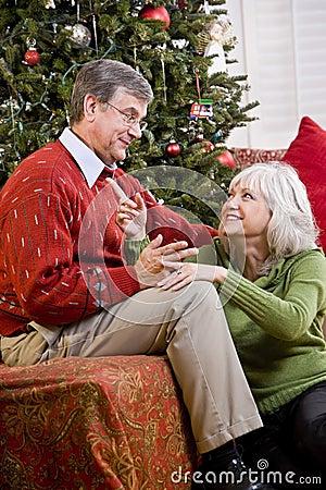 Free Loving Senior Couple Talking By Christmas Tree Royalty Free Stock Photography - 15150847