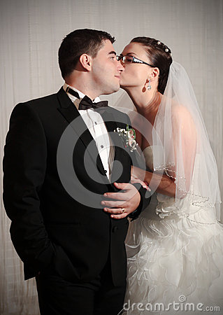 Loving wedding couple