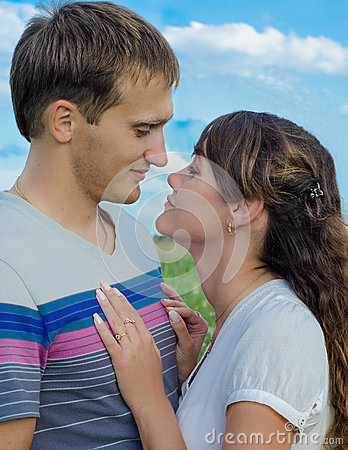 Loving young couple showing their  tenderness