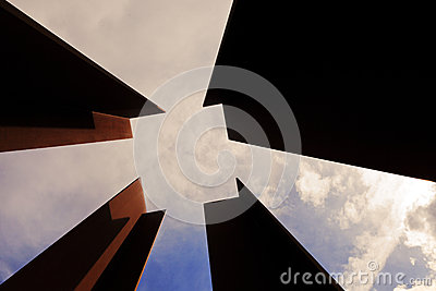 Abstract Diminishing Square and Cloudy Sky