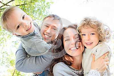 Low angle view of happy family