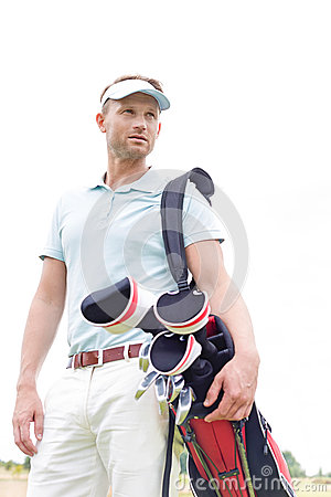 Free Low Angle View Of Thoughtful Mid-adult Man Carrying Golf Club Bag Against Clear Sky Royalty Free Stock Images - 85300669