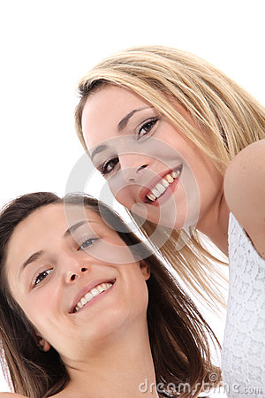 Low angle view of smiling women