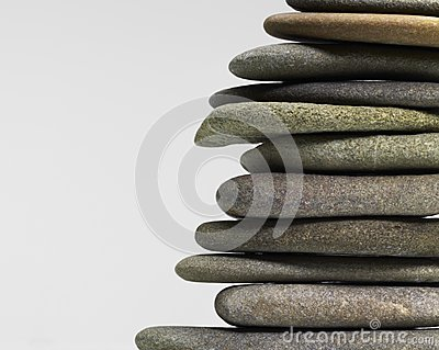 Stacked flat pebbles