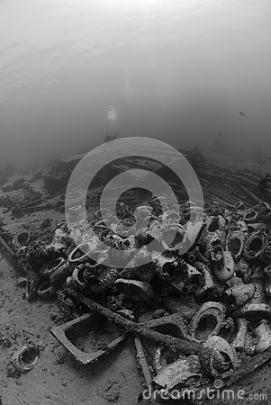 Low angle view of Underwater wreckage