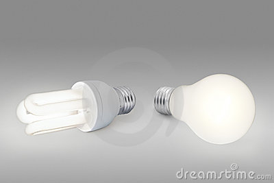 Low energy light bulb against normal light bulb