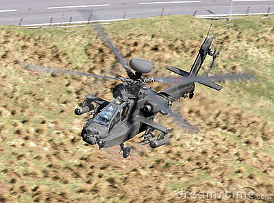 Low flying military helicopter