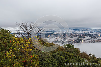 Low gray cloudy sky above Chiang Mai city in. Stock Photo