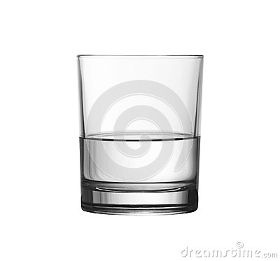 Free Low Half Full Glass Of Water Isolated With Clipping Path Stock Image - 29088971