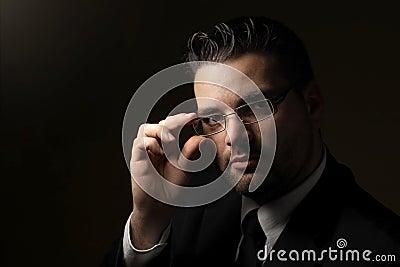 Low key portrait of handsome man
