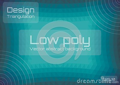 Low poly green blue abstract background. Geometric triangulation style. Textured template. Vector Illustration