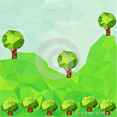 Low poly mountain landscape with trees Vector Illustration
