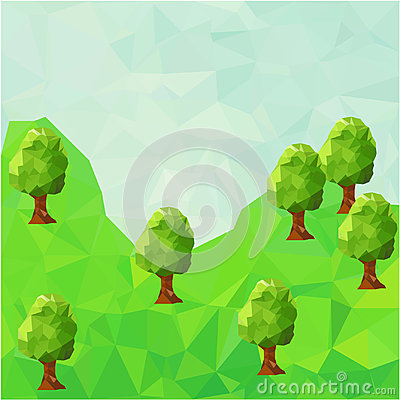Low poly mountain landscape with trees. Vector Illustration