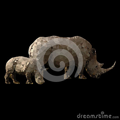 Free Low Poly Rhino With Baby Stock Image - 57711951