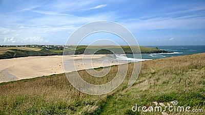 Low tide beach landscape: coast, deep blue skies