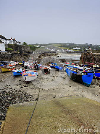 Low tide in the harbor with slipway