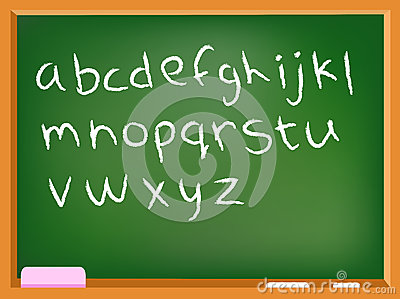 Lower case chalkboard alphabet