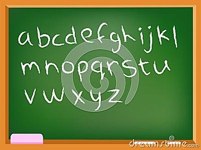 Lower case chalkboard alphabet