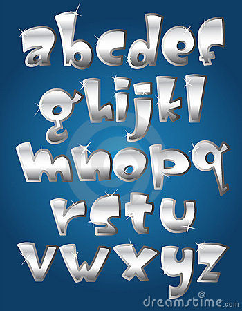 Free Lower Case Silver Alphabet Stock Photography - 23163842