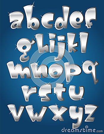 Lower case silver alphabet