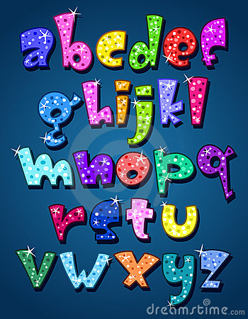 Lower case sparkling alphabet