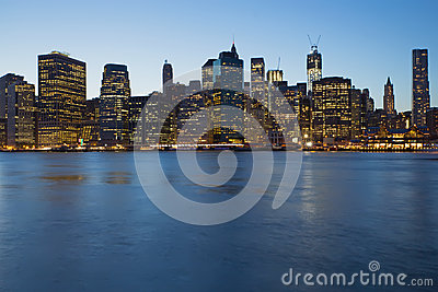 Lower Manhattan in blue