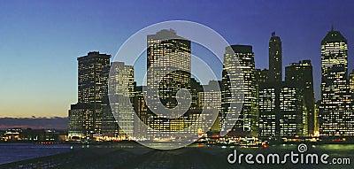 Lower Manhattan New York East River Night Skyline