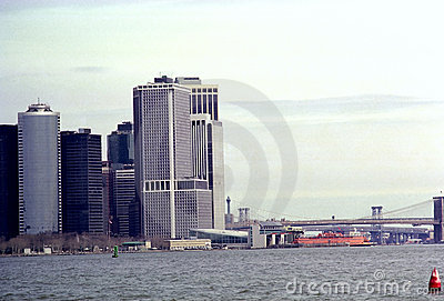Lower Manhattan New York Waterfront Skyline USA