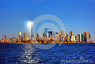 Lower Manhattan River Skyline Cityscape at Sunset