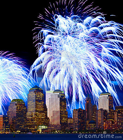 The Lower Manhattan skyline and fireworks