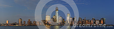 Lower Manhattan Skyline Panorama Editorial Photo