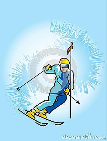 Lowering skier