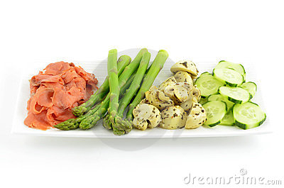Lox with fresh and marinated vegetables