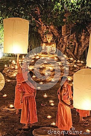 Loy Krathong festival in Chiangmai Editorial Photo