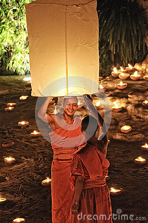 Loy Krathong festival in Chiangmai Editorial Stock Photo