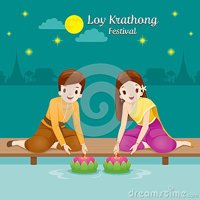 Free Loy Krathong Festival, Couple In National Costume Sitting, Celeb Royalty Free Stock Images - 128980159