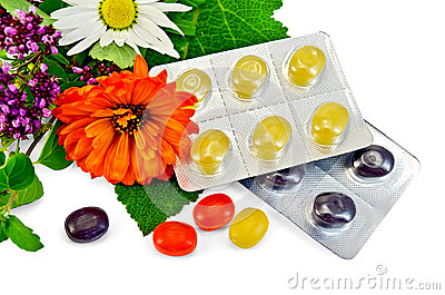 Lozenges cough multicolored with herbs