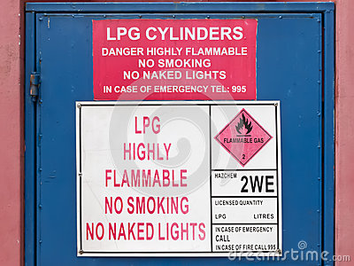 LPG highly inflammable sign