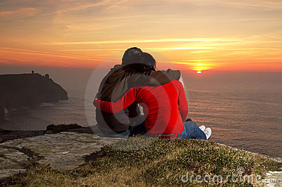 älska solnedgång för par