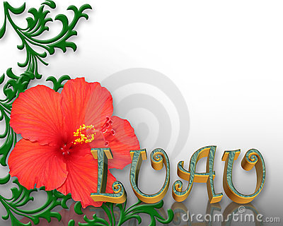 Luau Invitation Hibiscus Background