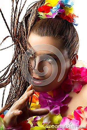 Luau Party Girl. Exotic Hula Dancer. Braiding Hair.