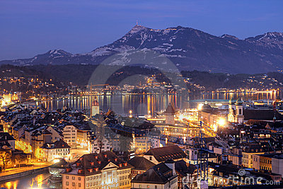 Lucerne aerial at night, Switzerland