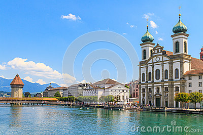 Lucerne city view with river Reuss and Jesuit church
