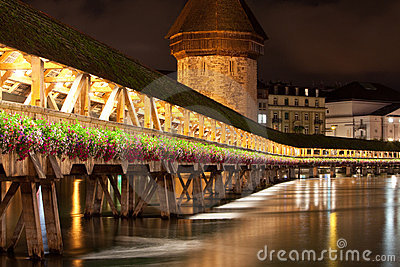 Lucerne Kapell Bridge at night time