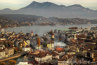 Lucerne (Luzern) Aerial In Autumn, Switzerland Royalty Free Stock ...