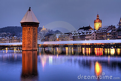 Lucerne skyline in winter, Switzerland